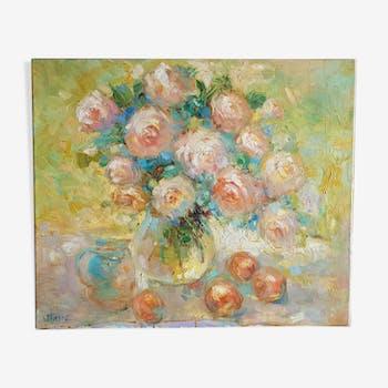 """Acrylique sur toile signée Van Tame """"Roses anciennes"""""""