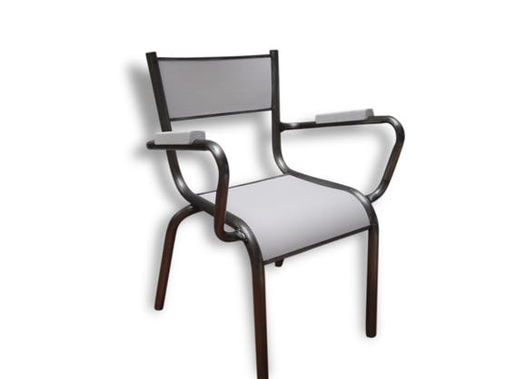 Ancien petit fauteuil d 39 cole pour enfant beige happy trop beau m tal blanc industriel - Petit fauteuil ancien ...