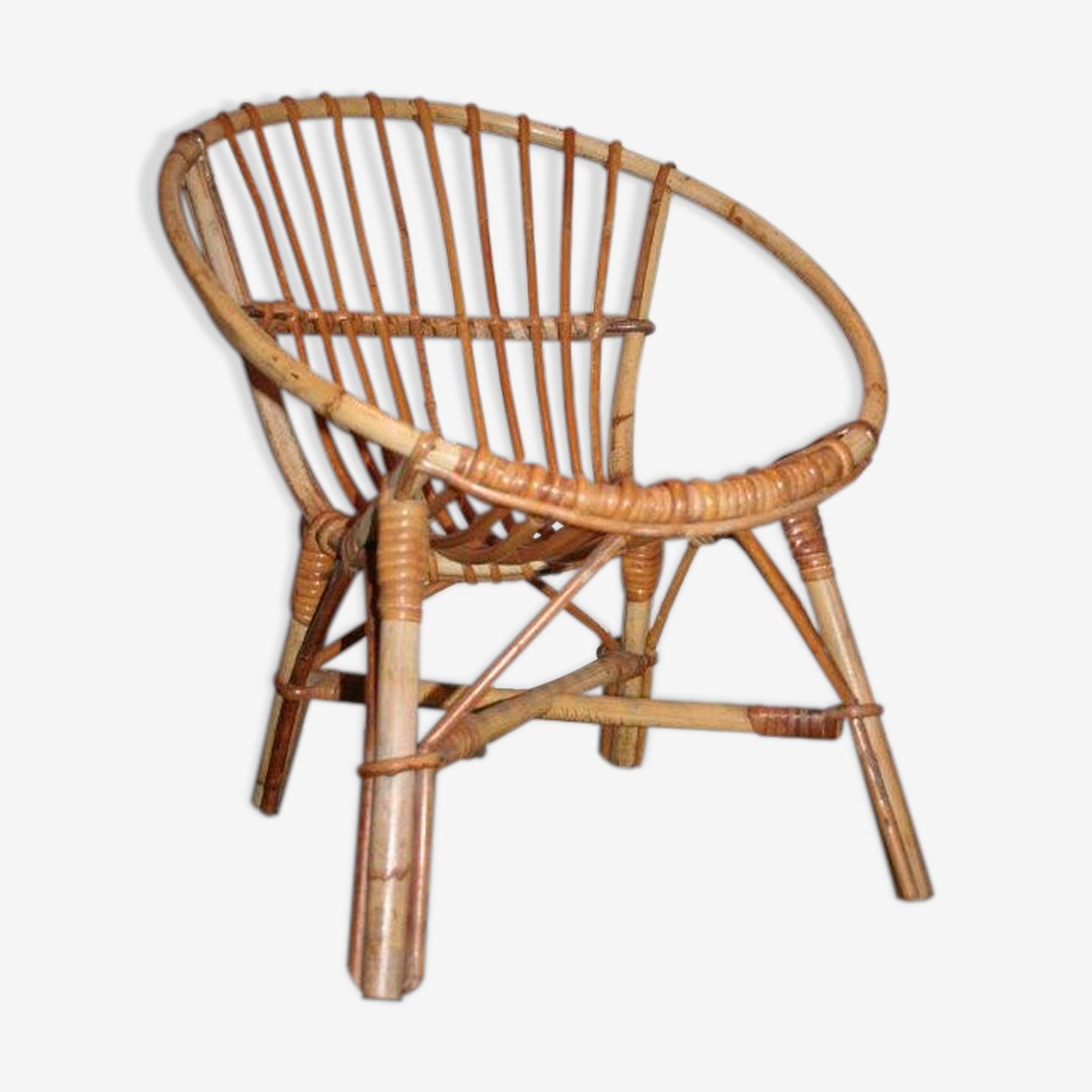 Vintage wicker shell armchair