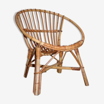 Vintage wicker shell armchair
