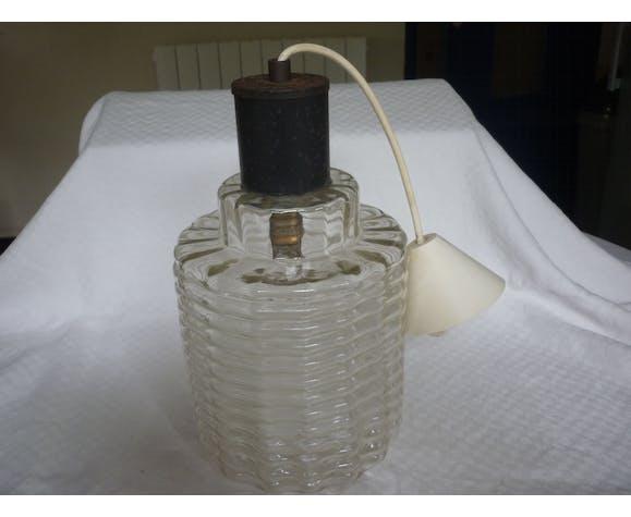 Suspension vintage en verre moule transparent