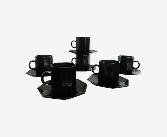 Vintage Tasses Expresso De Noir 6 Café À Couleur Set 70 Octime 7bgfy6