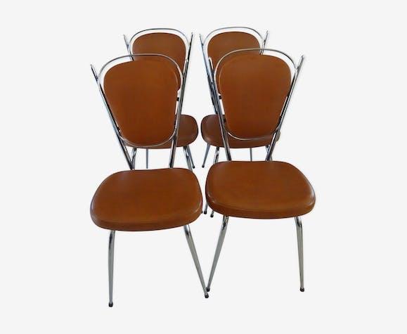 4 chaises de cuisine vintage chromé et skaï marron années 70 ...
