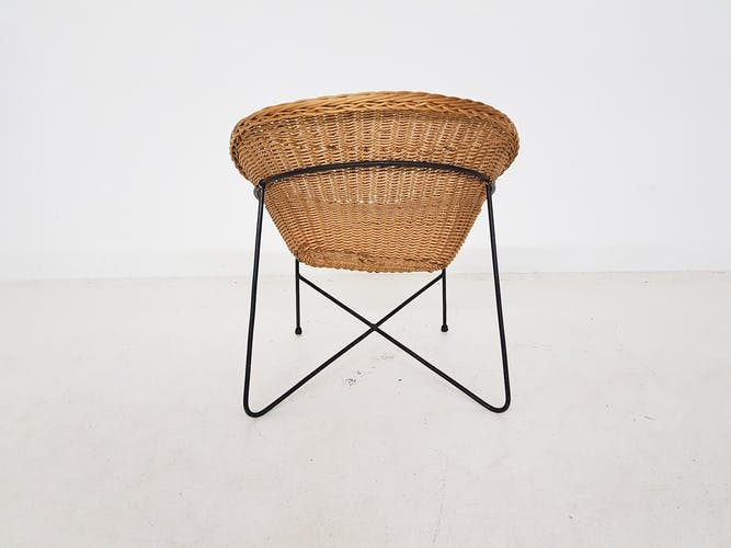 Rattan and metal lounge chair, The Netherlands 1950