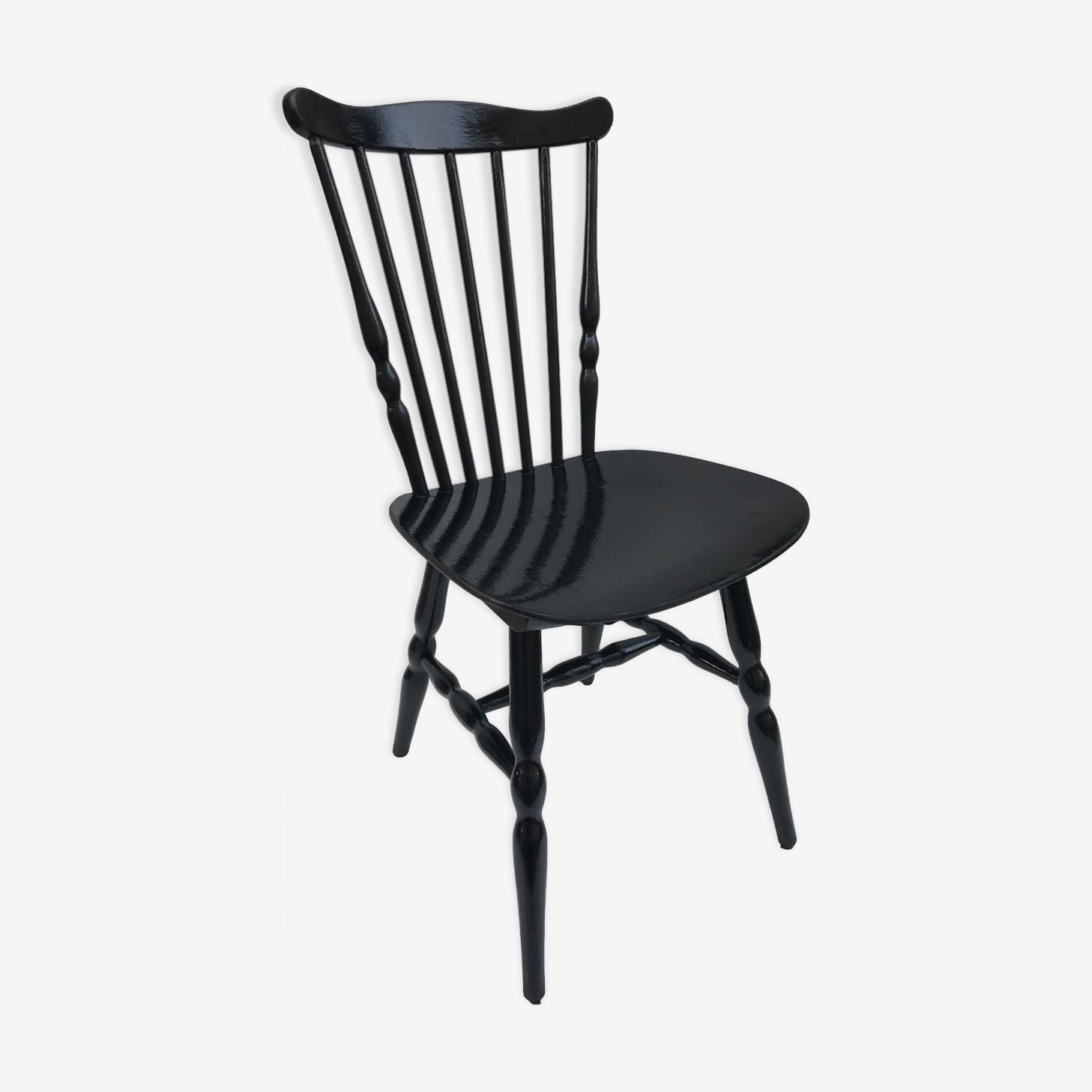Chaise ancienne de bistrot Baumann western en bois noir vintage