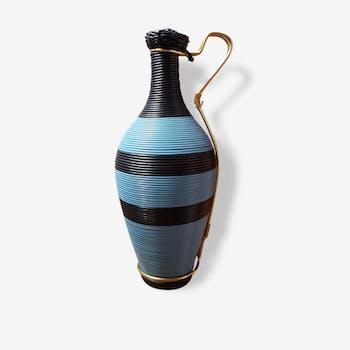 Elegant vase scoubidou noire et bleue