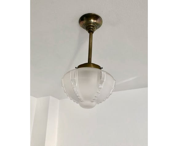 Art Deco glass and brass suspension