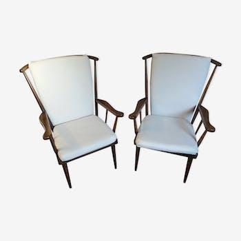 Paire de fauteuils éventail baumann