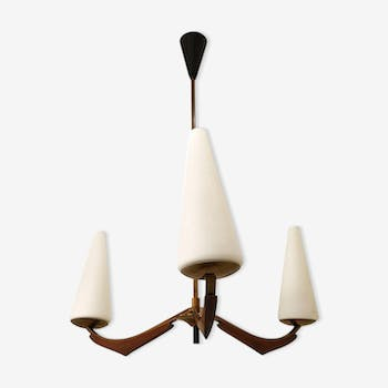 Chandelier french Arlus opaline and wood 1950