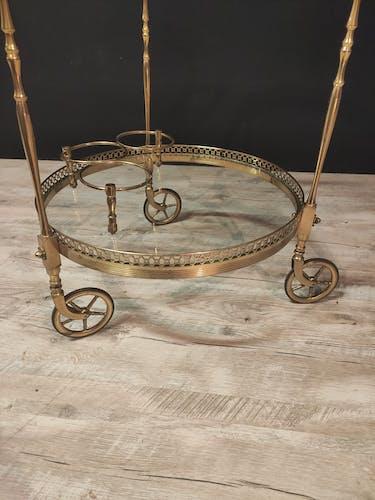 Table roulante en laiton doré