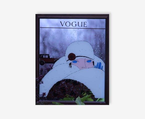 Miroir Vogue Art Déco Tableau Vintage Cadre Bois Mondial Relay