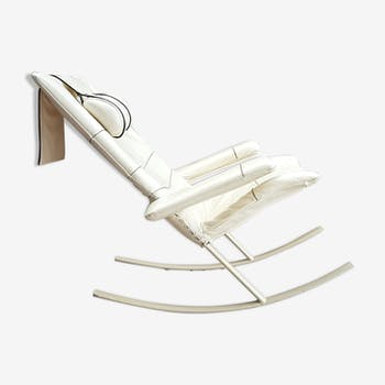 Steel and leather rocking chair by Jori, Belgium 1960s