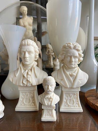 Trio de bustes Mozart Beethoven Strauss