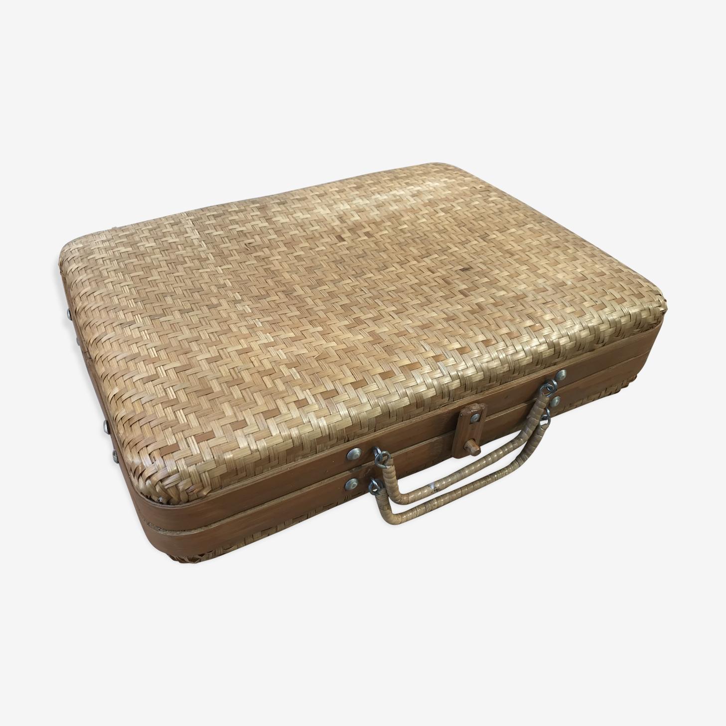 Ancien panier pique-nique rotin beige tressé années 60 vintage