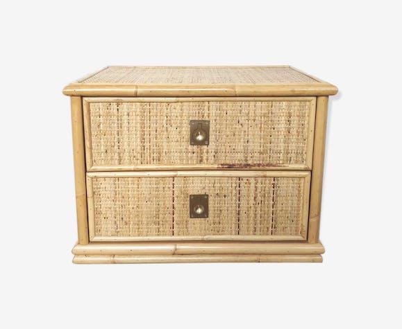 Table de chevet bambou et rotin
