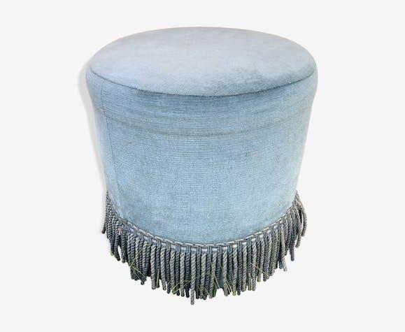 Pouf en velours bleu