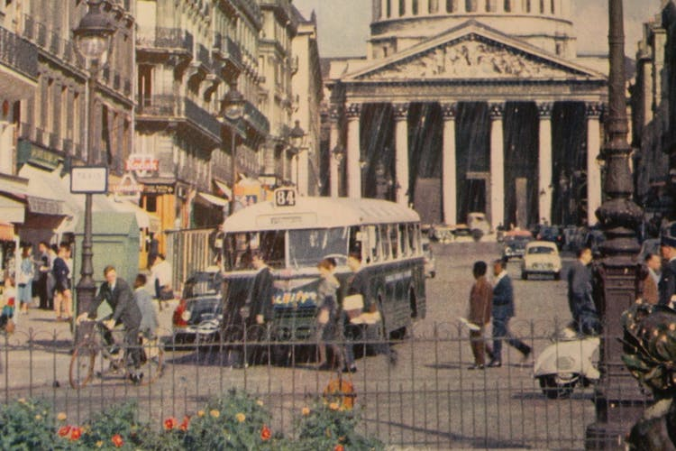 Poster old original tourism paris pantheon Latin neighborhood bus slipper