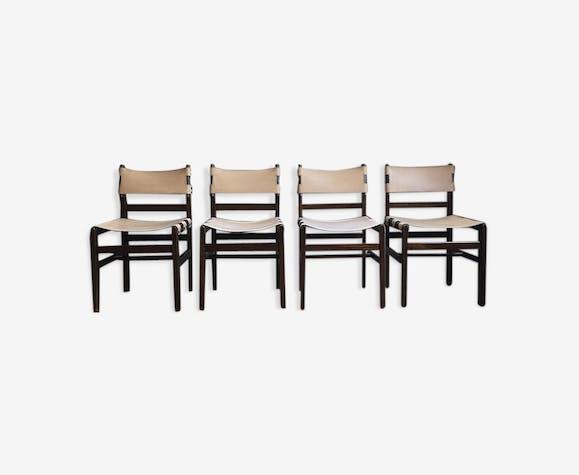 Set de 4 chaises cuir