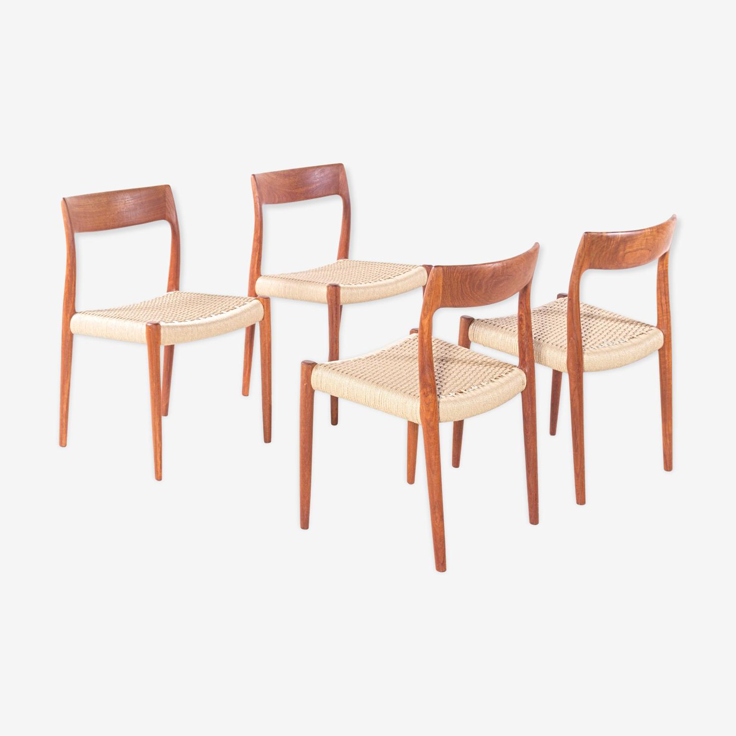 Set of four chairs model 77 by Niels Otto Møller Denmark