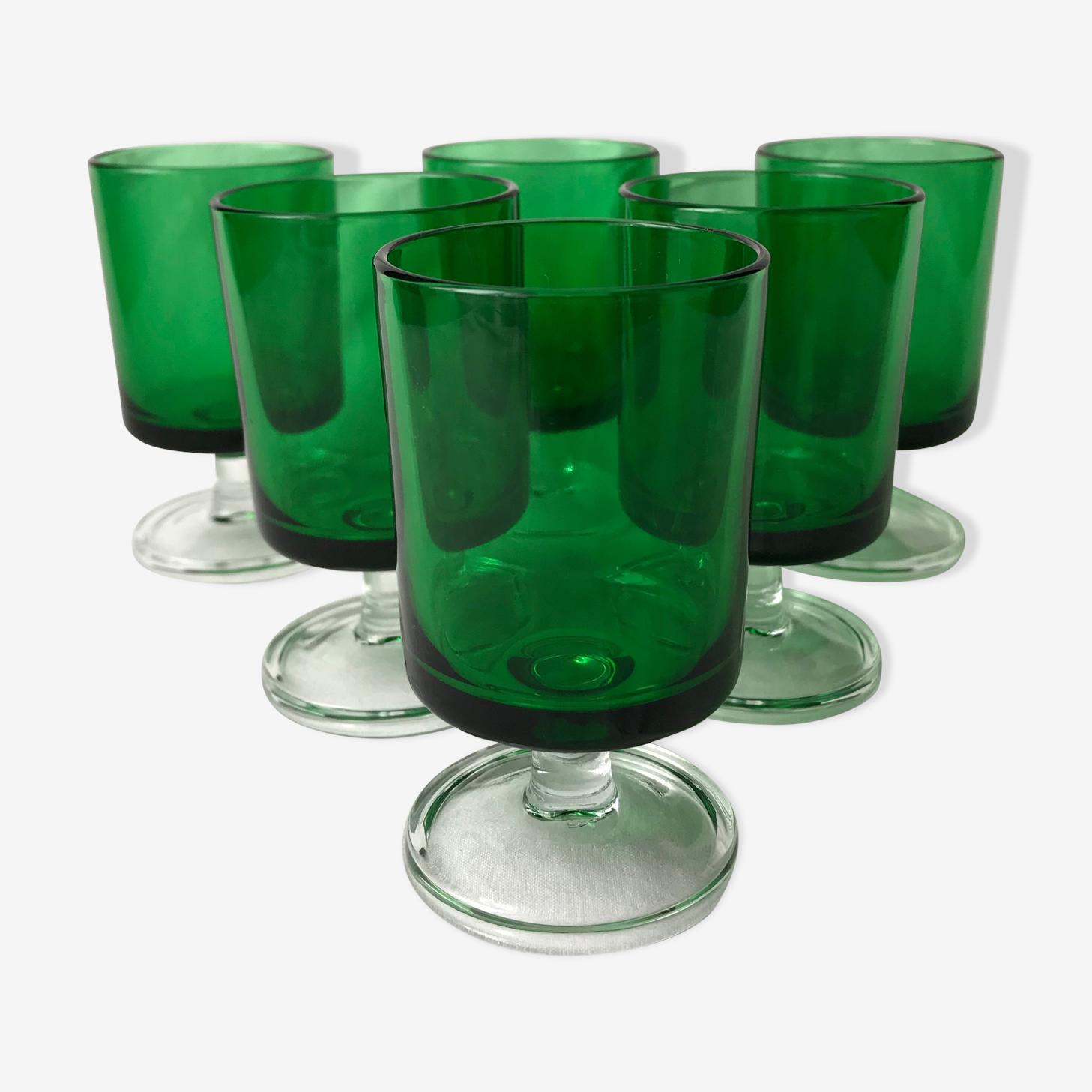 Lot de six verres de couleur verte