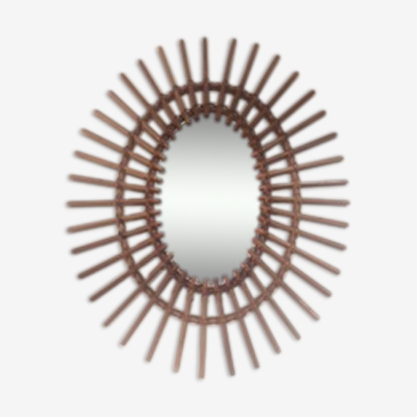 Miroir rotin vintage ans 50 62x50cm