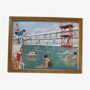 Cadre en bois avec une affiche la piscine vintage Rossignol 1960/70