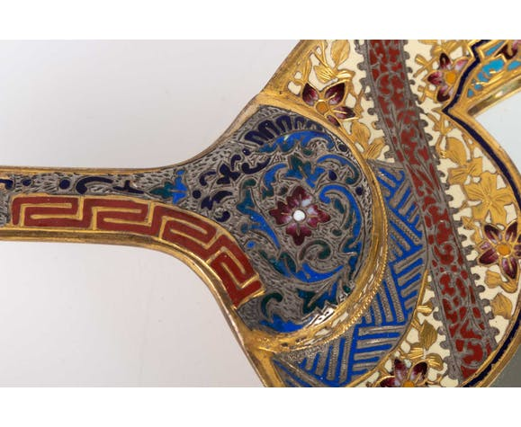 Coupe en bronze doré et emaillé du 19ème siècle, époque Napoléon lll
