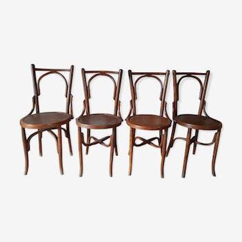 Chaises de bistrot espagnole en bois courbé
