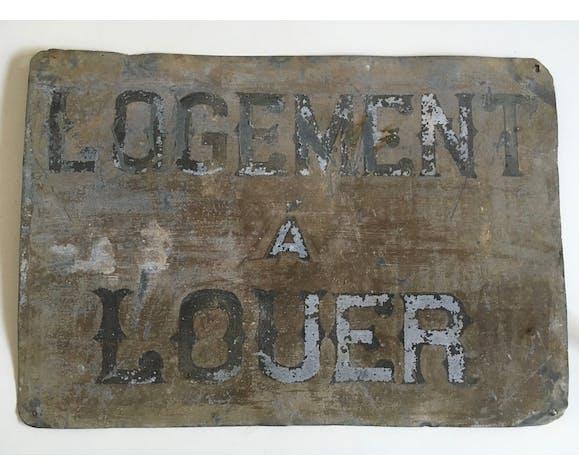 Plaque enseigne «à louer» en zinc années 20s