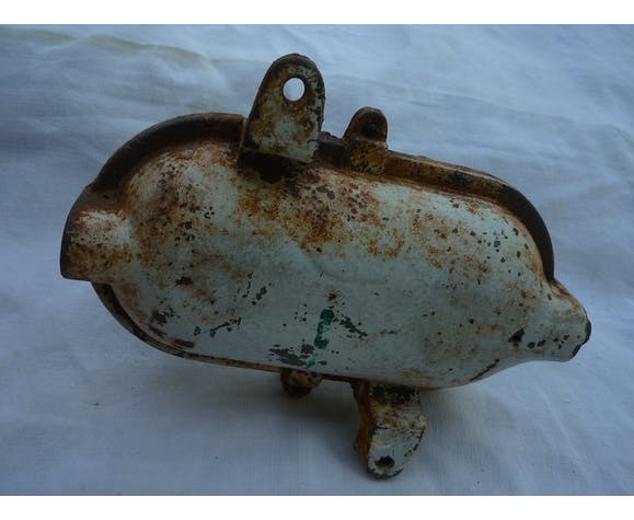 """Old """"window"""" industrial wall light cast iron and glass"""