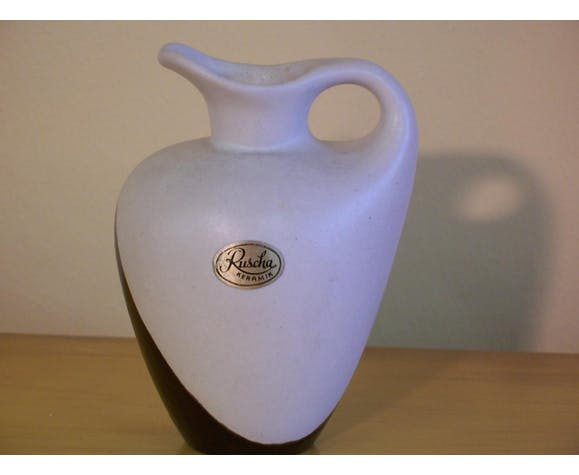 Pitcher ceramic white and black of the 1950s