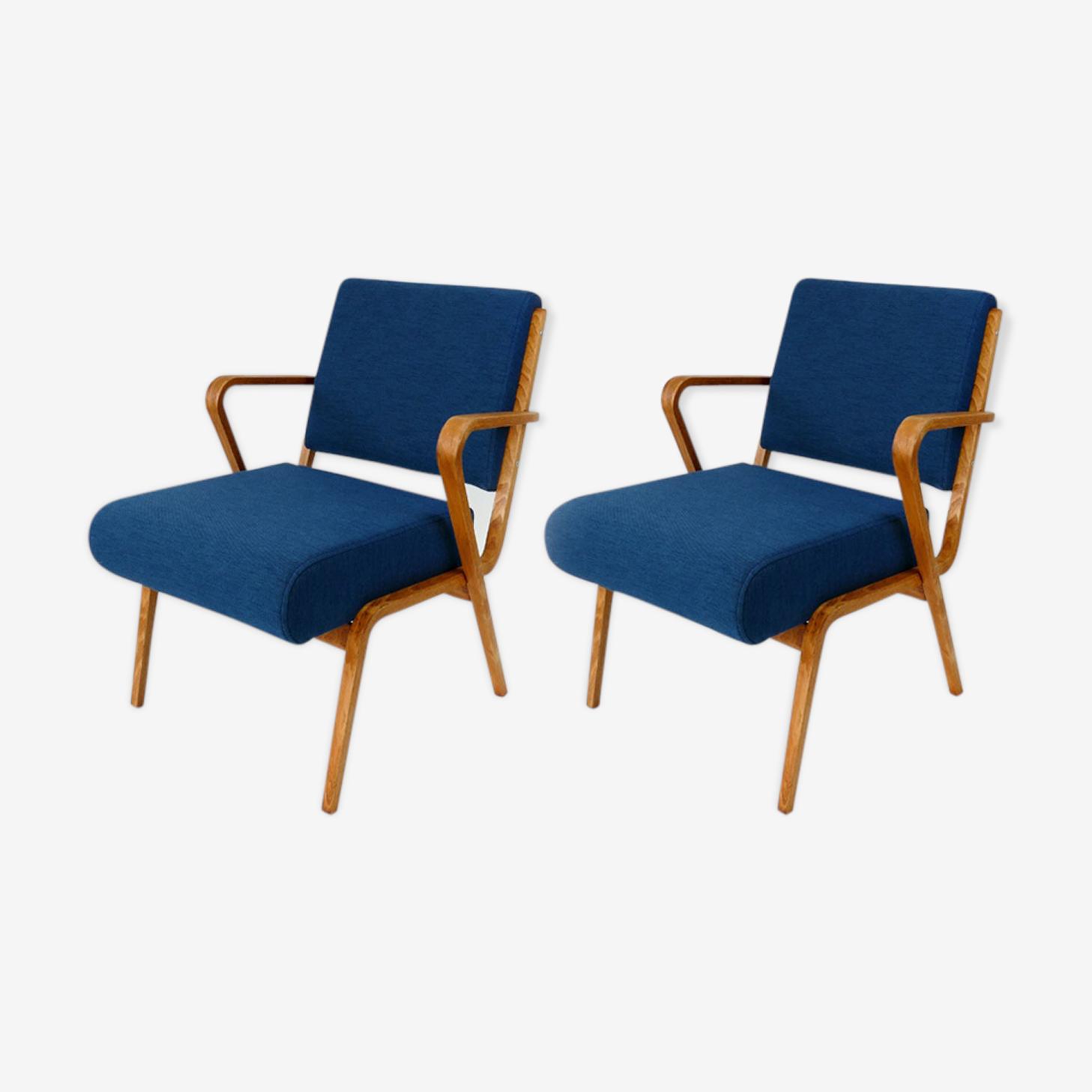 Pair of armchairs par Selman Selmanagic pour Veb Deutsche Werkstätten Hellerau