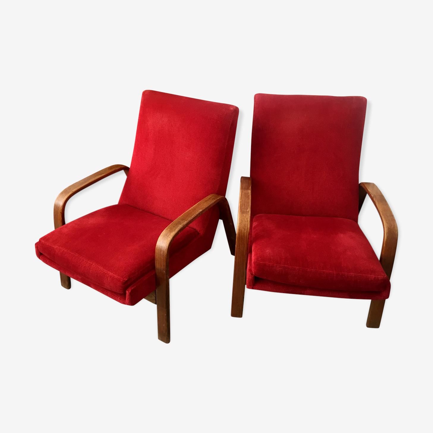 Paire de fauteuils ARP Steiner rouge framboise