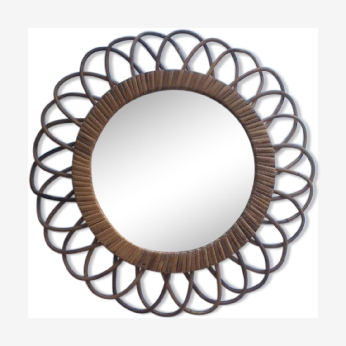 Miroir soleil rotin diamètre 40cm