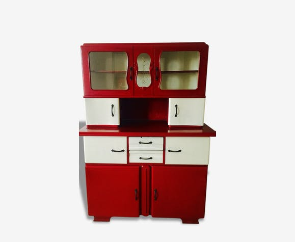 meuble mado 1950 bois mat riau rouge art d co 141191. Black Bedroom Furniture Sets. Home Design Ideas