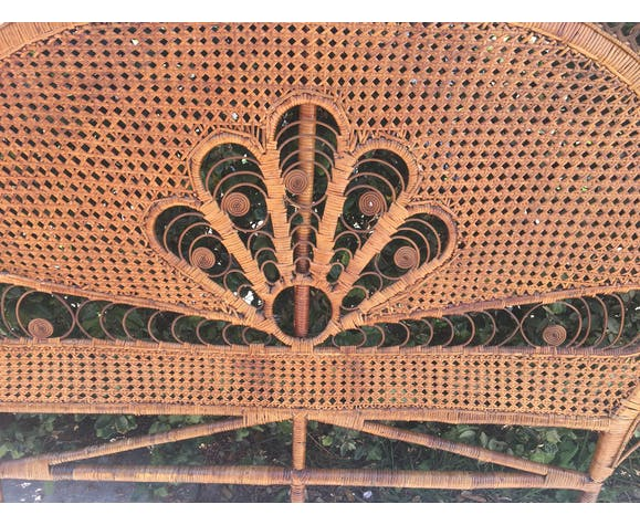 Tête de lit en rotin peacock