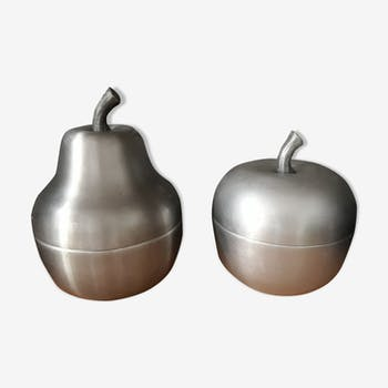 Pair of 2 buckets ice brushed aluminium