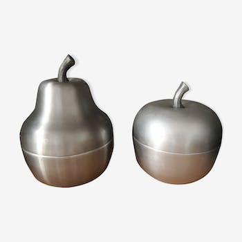 Paire de 2 seaux à glaçons en aluminium brossé