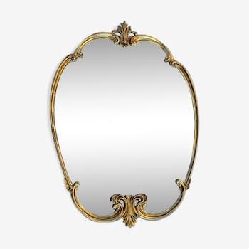 Gilded bronze oval mirror, 42x59cm