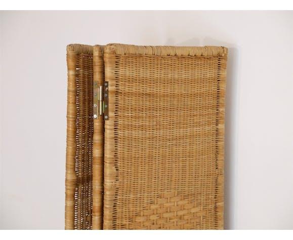 Paravent vintage en rotin et bois 1960