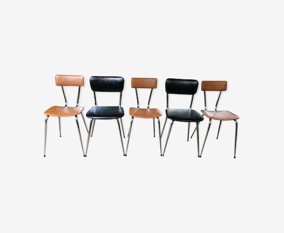 Lot de chaises skaï et chrome vintage