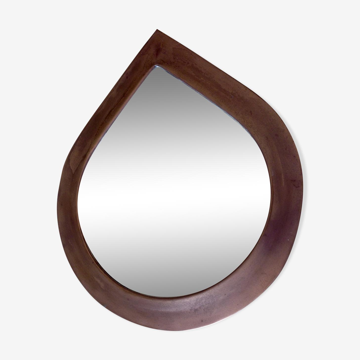 70s copper drop mirror 34x28cm