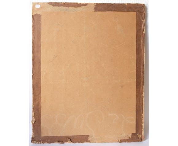 Peinture 19ème d'un homme à la chemise noir huile sur toile contrecollé sur carton