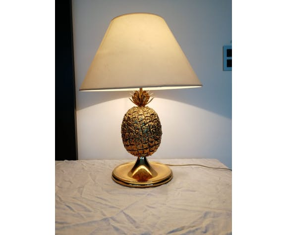 Pineapple 70s brass table lamp