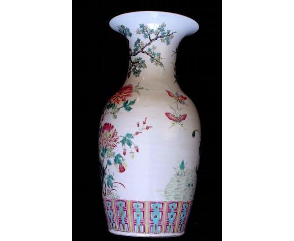 Vase chinois famille rose phénix porcelaine 45cm Chine XIX