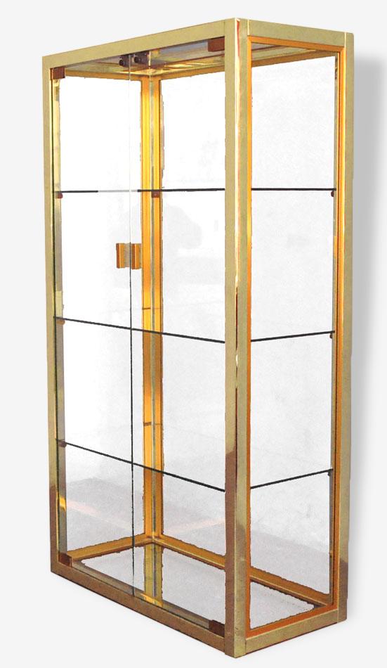 Vitrine vintage métal chromé et doré design