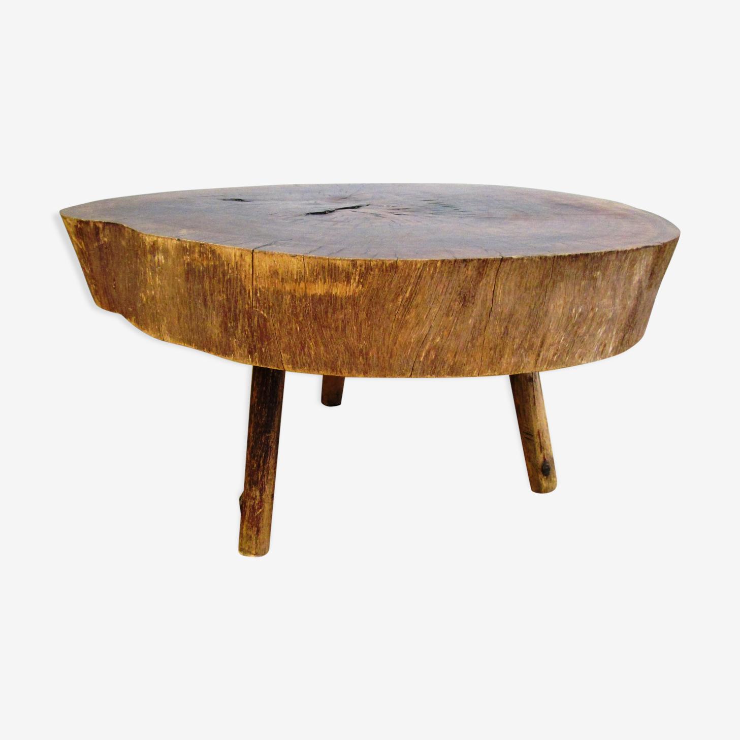 Table basse tripode rondin bois massif des années 60 70