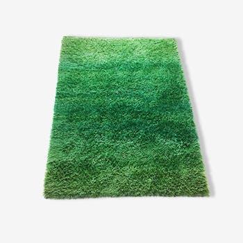 Original 1960 s green Rya Rug by MARIANNE RICHTER for Wahlbecks AB, Sweden | 200 x 137