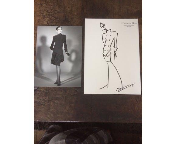 Croquis de mode accompagnée d'une superbe photographie de presse Christian Dior