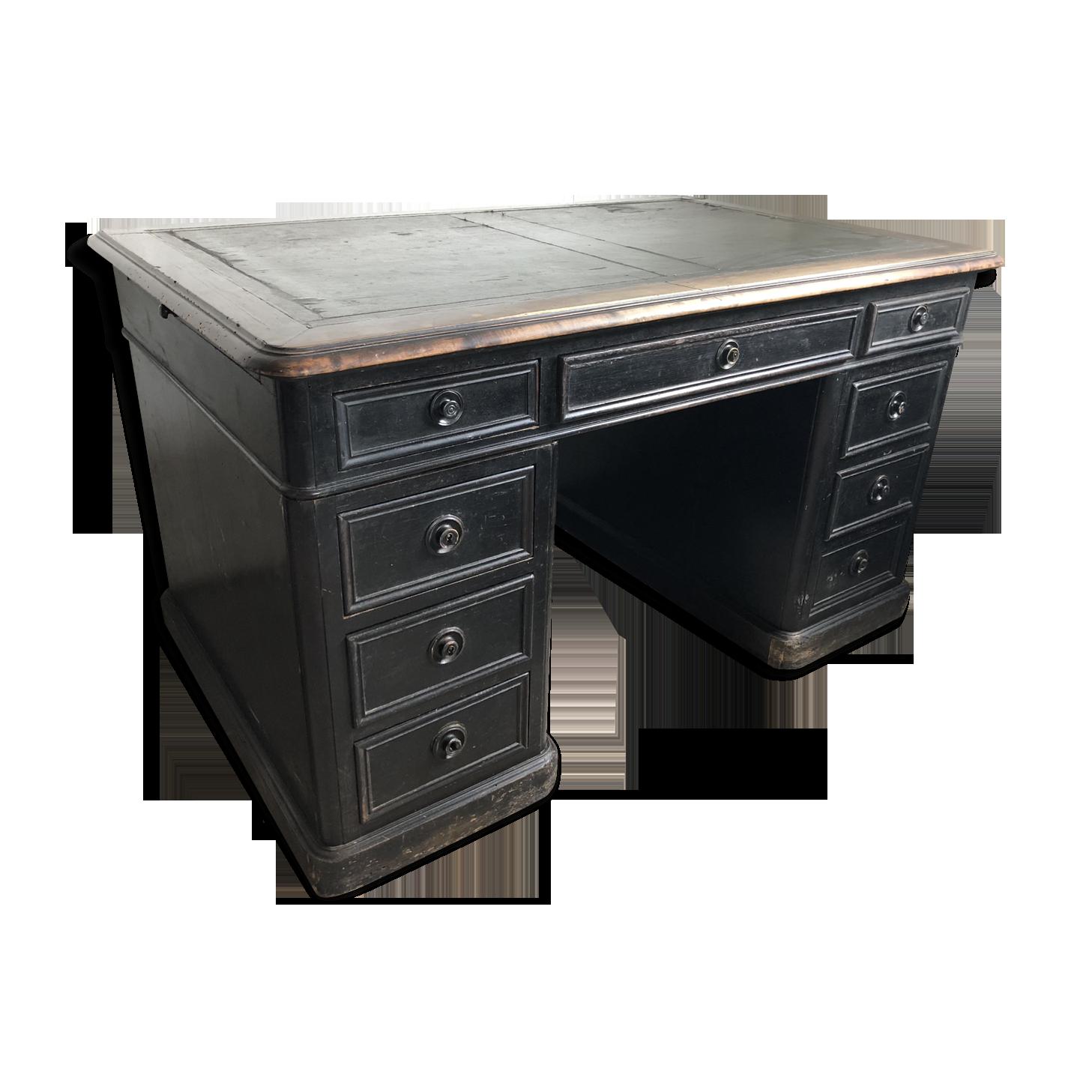 Bureau à caisson de style napoleon iii bois matériau noir